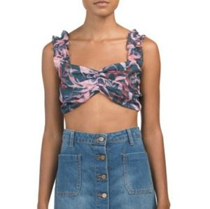 *HP* Tropical Pink Blue  Crop Top NWT